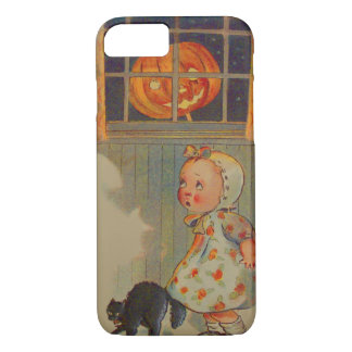 Scared Girl Jack O' Lantern Black Cat Prank iPhone 7 Case