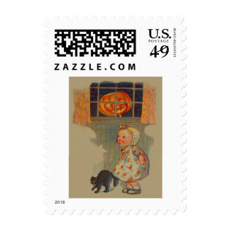 Scared Girl Jack O' Lantern Black Cat Prank Postage