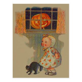 Scared Girl Jack O' Lantern Black Cat Prank Postcard