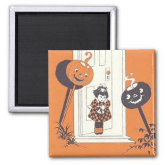Scared Girl Jack O' Lantern Pumpkin 2 Inch Square Magnet