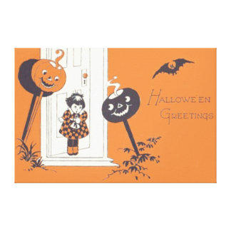 Scared Girl Jack O' Lantern Pumpkin Bat Canvas Print
