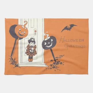Scared Girl Jack O' Lantern Pumpkin Bat Towel