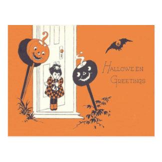 Scared Girl Jack O' Lantern Pumpkin Bat Postcard