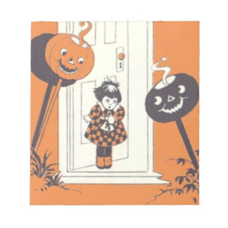 Scared Girl Jack O' Lantern Pumpkin Notepad