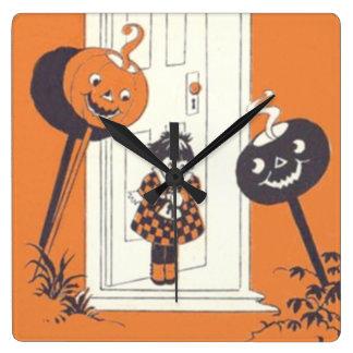 Scared Girl Jack O' Lantern Pumpkin Square Wall Clock