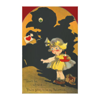 Scared Girl Puppy Dog Monster Valentine Canvas Print