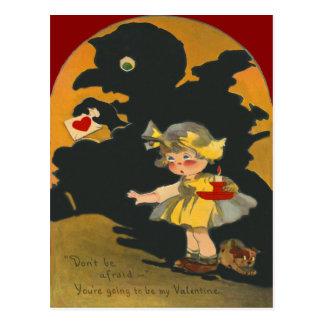 Scared Girl Puppy Dog Monster Valentine Postcard