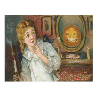 Scared Girl Smiling Jack O' Lantern Pumpkin Postcard