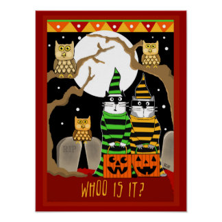 Scared Halloween Cats Trick or Treating with Owls Print