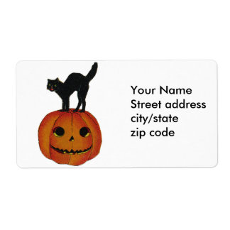 Scared Halloween Kitty Cat Shipping Label