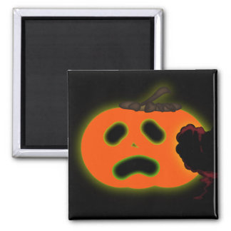 Scared  Halloween pumpkin 2 Inch Square Magnet
