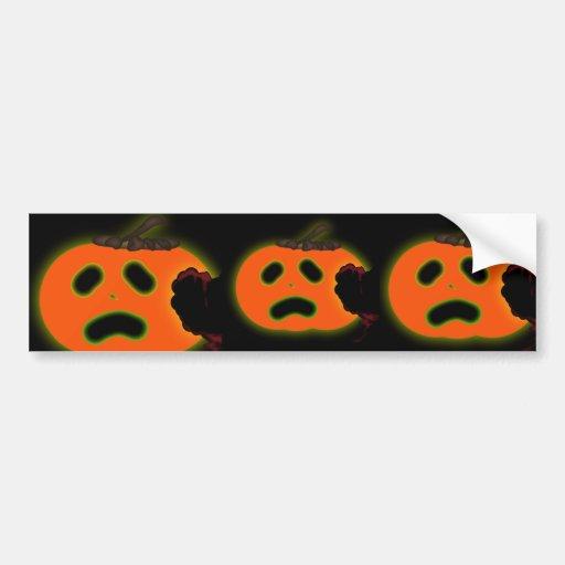 Scared  Halloween pumpkin Bumper Stickers