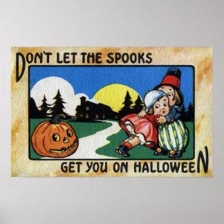Scared Kids and JOL Vintage Halloween Poster