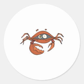 scared little crab classic round sticker