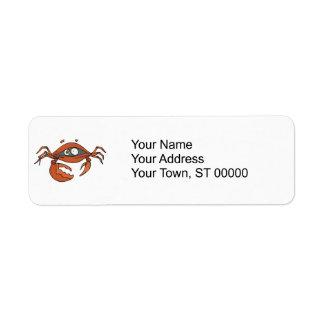 scared little crab return address label