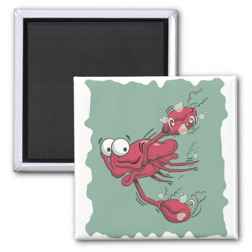 Scared Lobster 2 Inch Square Magnet