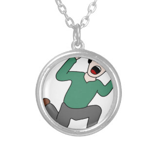 Scared Man Silver Plated Necklace