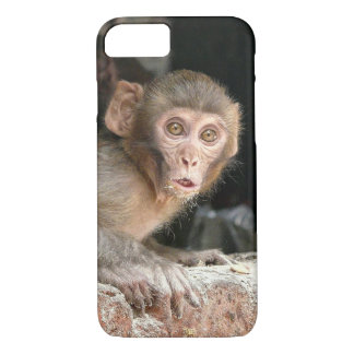 Scared monkey with big eyes iphone 7 case