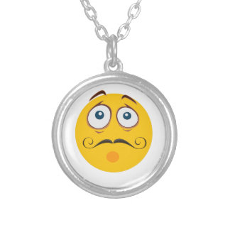 Scared mustache emoji silver plated necklace