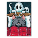 Scared of Ghosts Tabby Cat in Bed Illustration