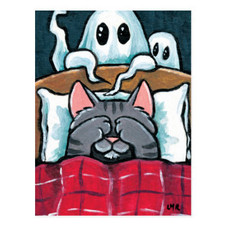 Scared of Ghosts Tabby Cat in Bed Illustration Postcard