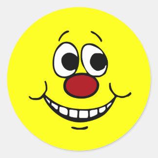 Scared Smiley Face Grumpey Classic Round Sticker