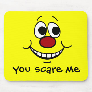 Scared Smiley Face Grumpey Mouse Pad