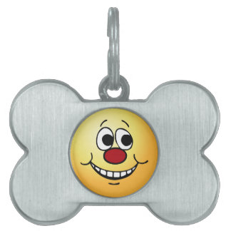 Scared Smiley Face Grumpey Pet ID Tag