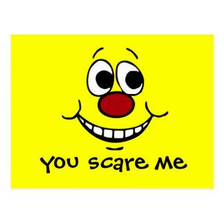 Scared Smiley Face Grumpey Postcard