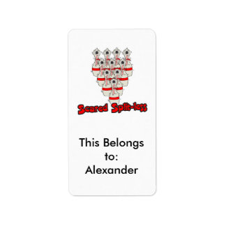 scared split-less frightenened cartoon bowling pin address label