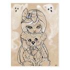 Scared teddy bears little girl halloween postcard