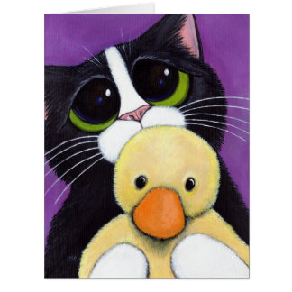 Scared Tuxedo Cat and Cuddly Duck Painting Card