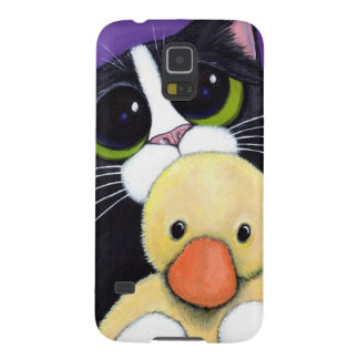 Scared Tuxedo Cat and Cuddly Duck Painting Case For Galaxy S5