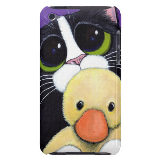 Scared Tuxedo Cat and Cuddly Duck Painting Case-Mate iPod Touch Case