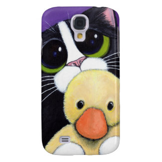 Scared Tuxedo Cat and Cuddly Duck Painting Galaxy S4 Case