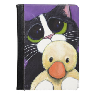 Scared Tuxedo Cat and Cuddly Duck Painting iPad Air Case