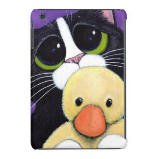 Scared Tuxedo Cat and Cuddly Duck Painting iPad Mini Retina Cover