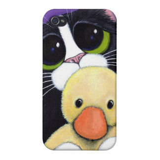 Scared Tuxedo Cat and Cuddly Duck Painting iPhone 4/4S Case