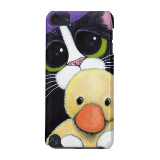 Scared Tuxedo Cat and Cuddly Duck Painting iPod Touch (5th Generation) Case