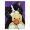 Scared Tuxedo Cat and Cuddly Duck Painting Poster