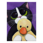 Scared Tuxedo Cat and Cuddly Duck Painting Print