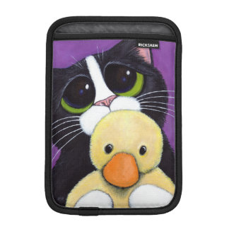 Scared Tuxedo Cat and Cuddly Duck Painting Sleeve For iPad Mini