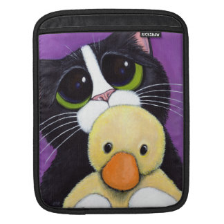 Scared Tuxedo Cat and Stuffed Duck Painting iPad Sleeve