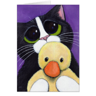 Scared Tuxedo Cat and You Duck Painting Card