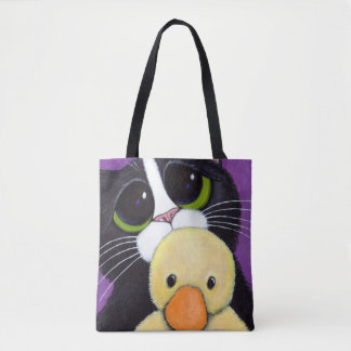 Scared Tuxedo Cat Big Eyes & Cuddly Duck Painting Tote Bag