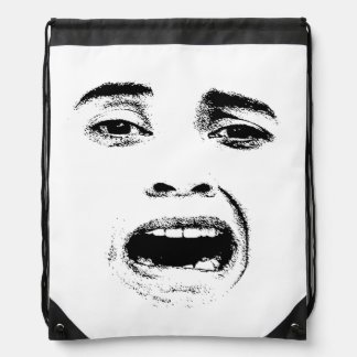 Scared Woman Expression Drawstring Backpack