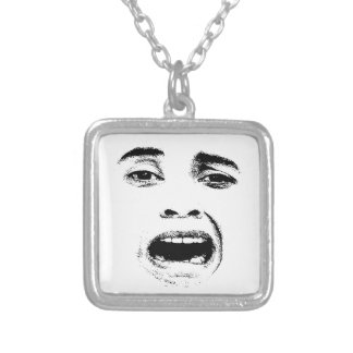Scared Woman Expression Silver Plated Necklace