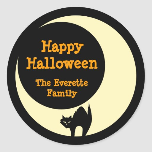 Scaredly cat in yellow moon happy halloween favor classic round sticker