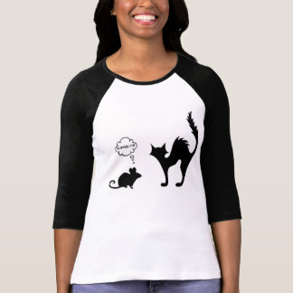 Scaredy Cat and Mouse Silhouette Baseball Jersey T-Shirt