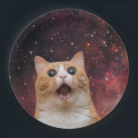 "scaredy cat in space - feline paper plate<br><div class=""desc"">funny cats , cute cats , cute kittens , crazy cat , domestic cat , cat lover , pet cat , space cat , orange cat , cat universe , </div>"